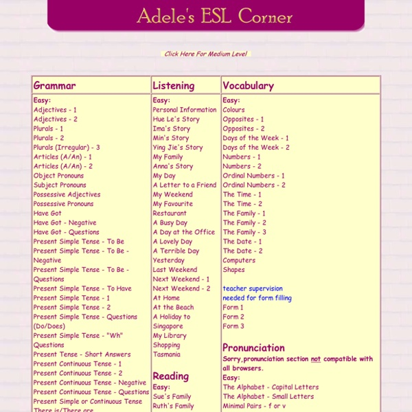Adele's ESL Corner - Your free online English language website