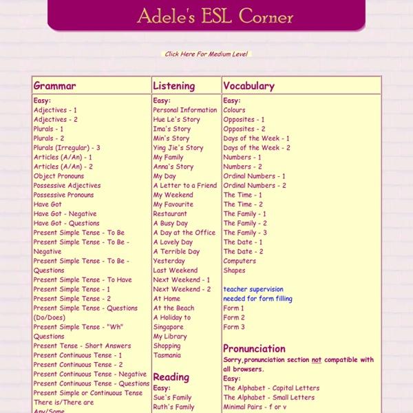 Adele's ESL Corner - Your free online English language website
