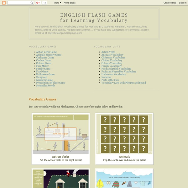 ENGLISH FLASH GAMES for Learning Vocabulary