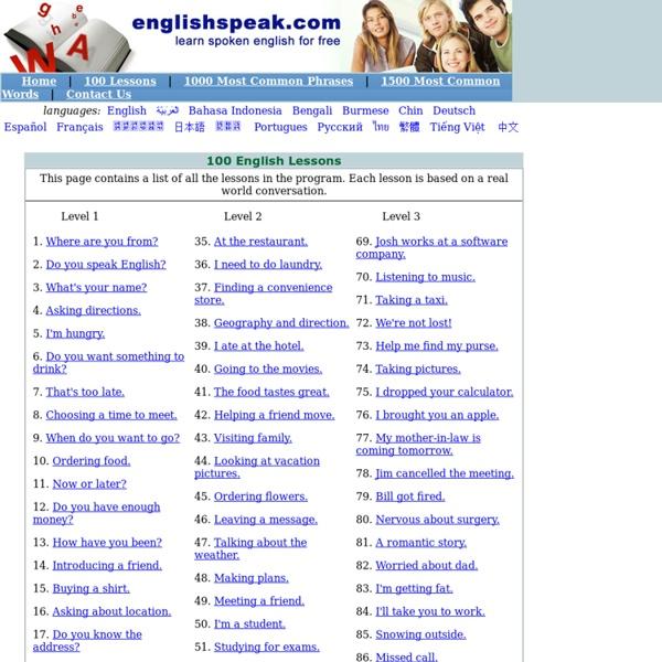 Speak English, English Lesson, English Words & Learn English at EnglishSpeak.com