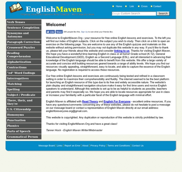 Free Online English Lessons and Exercises