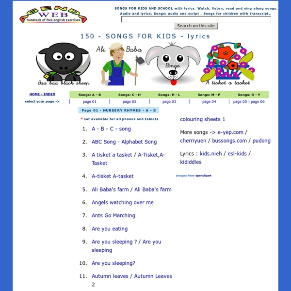 English Songs For Kids Children With Lyrics
