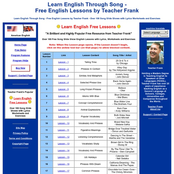 Learn English Through Song - Free English Lessons by Teacher Frank