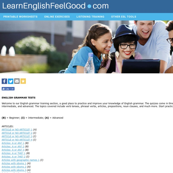 English Grammar Tests for ESL Students - English Grammar Practice Quizzes