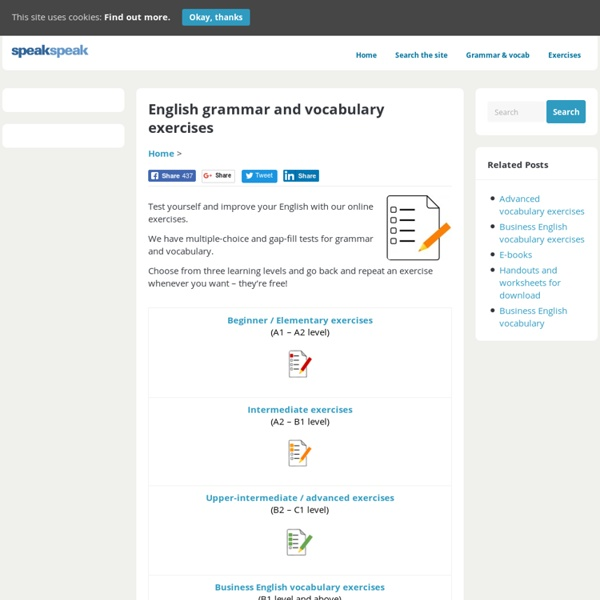 English Grammar And Vocabulary Exercises Speakspeak Pearltrees