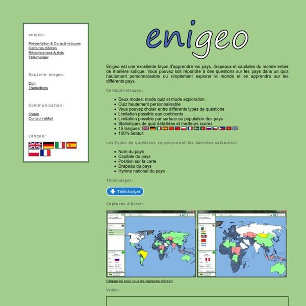 Enigeo - Apprendre les pays, drapeaux et capitales du monde entier de manière ludique.