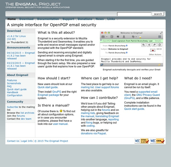 Enigmail: A simple interface for OpenPGP email security
