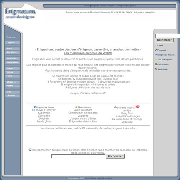 Enigmatum: jeux d'énigmes, casse-tête, charades