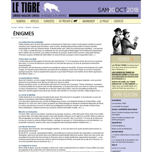 Enigmes - Le Tigre