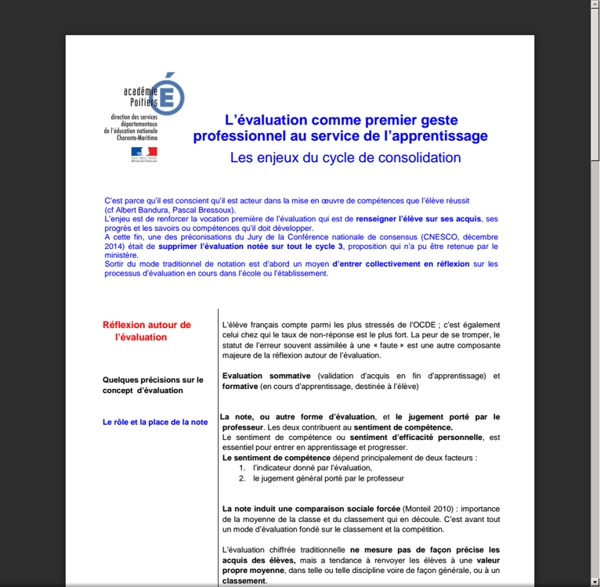 L'évaluation comme premier geste professionnel au service de l'apprentissage Les enjeux du cycle de consolidation