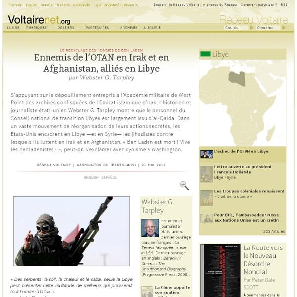 Ennemis de l'OTAN en Irak et en Afghanistan, alliés en Libye