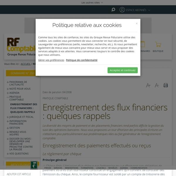 Enregistrement des flux financiers : quelques rappels