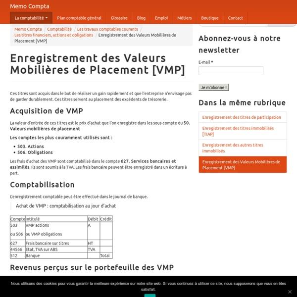 Enregistrement des Valeurs Mobilières de Placement [VMP]