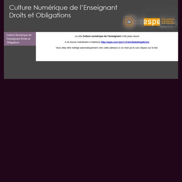 Culture Numérique de l'enseignant Droits et Obligations