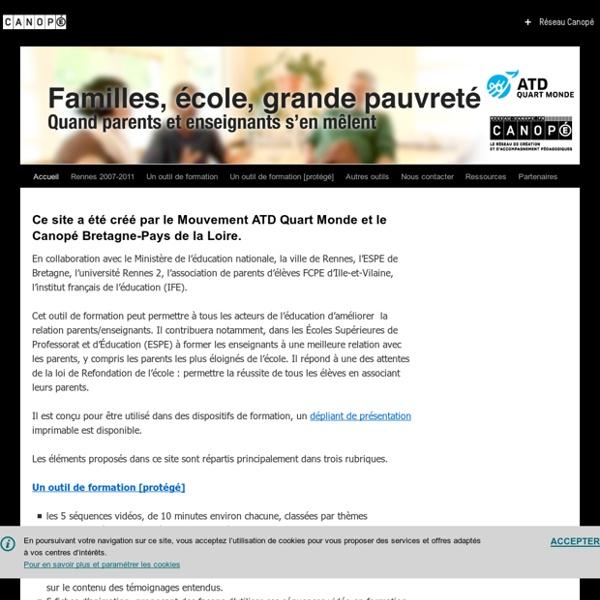 SITE + RSS CANOPE Rennes : Familles, école, grande pauvreté, quand Parents et enseignants s'en mêlent
