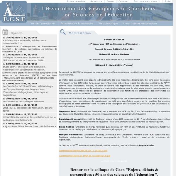 AECSE : Association des chercheurs et enseignants en science de l'éducation. L'AECSE regroupe enseignant et chercheur en science de l'education