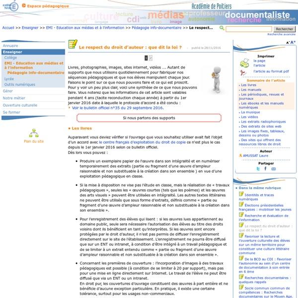 Le respect du droit d'auteur : que dit la loi ? - Les Enseignants Documentalistes de l'Académie de Poitiers