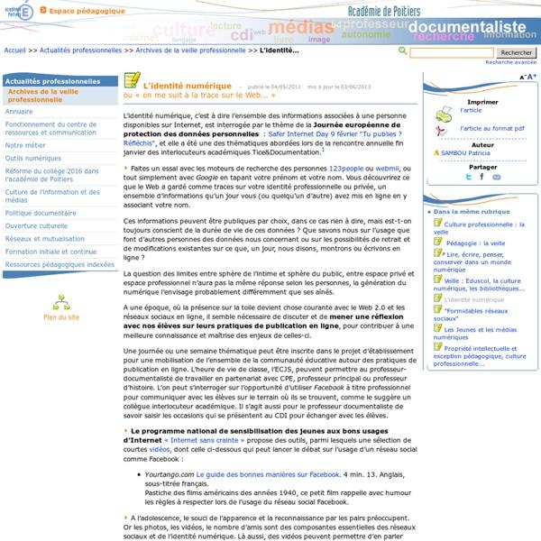 L'identité numérique- Les Enseignants Documentalistes de l'Académie de Poitiers