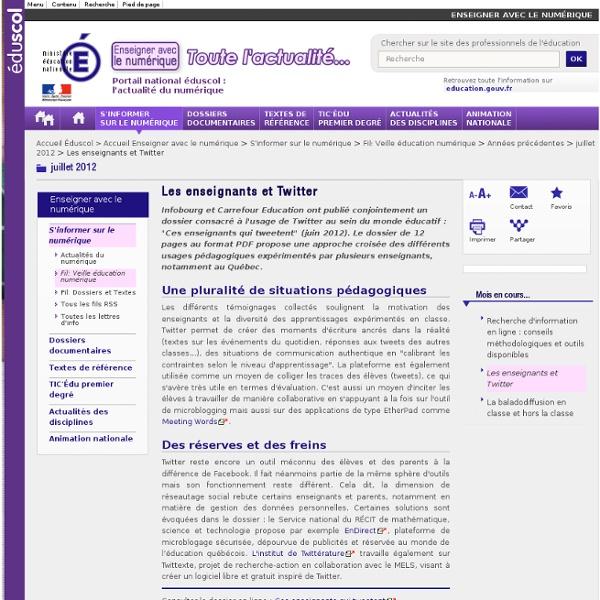 Les enseignants et Twitter — éduscol, le site des professionnels de l'éducation