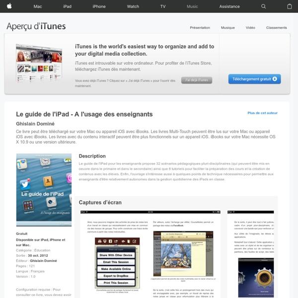 Le guide de l'iPad - A l'usage des enseignants de Ghislain Dominé sur iBooks