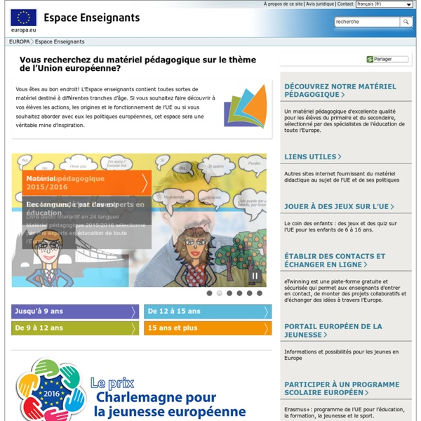 Espace enseignants - Matériel pédagogique sur l'UE