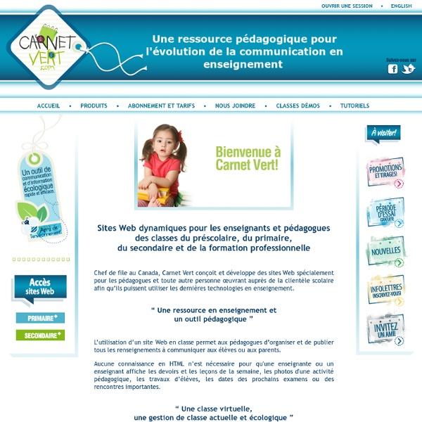 Classe virtuelle pour les enseignants du préscolaire, primaire et secondaire - Carnet Vert