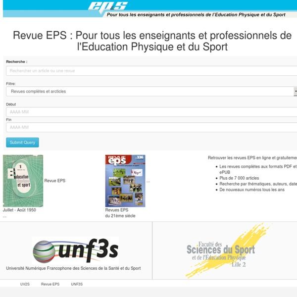 Revue EPS : Pour tous les enseignants et professionnels de l'Education Physique et du Sport