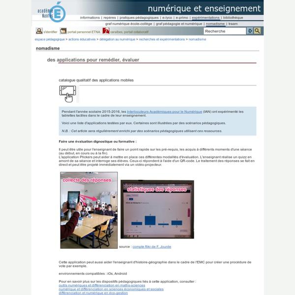 Numérique et enseignement - des applications pour remédier, évaluer