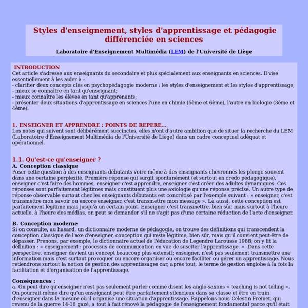 Styles d'enseignement, styles d'apprentissage et pédagogie différenciée en sciences - LEM - ULg