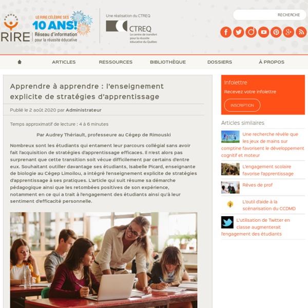Apprendre à apprendre : l'enseignement explicite de stratégies d'apprentissage