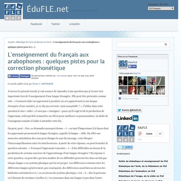L'enseignement du français aux arabophones
