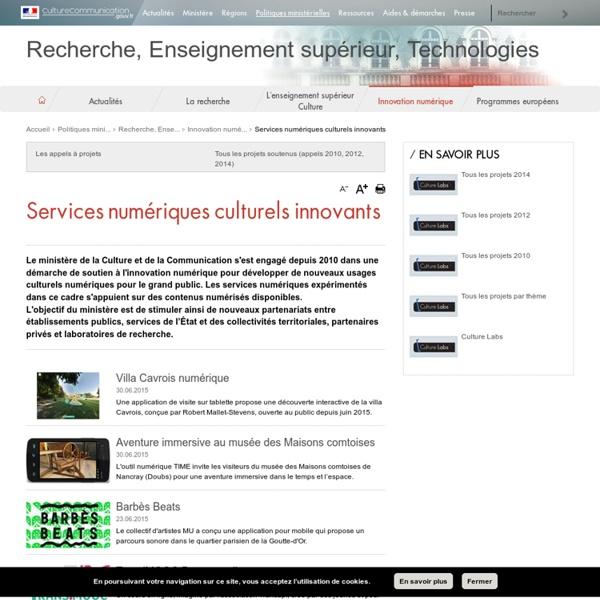 Services numériques culturels innovants / Innovation numérique / Recherche, Enseignement supérieur, Technologies