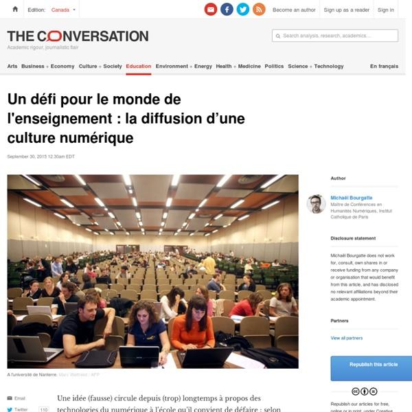 Un défi pour le monde de l'enseignement: la diffusion d'une culture numérique