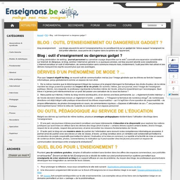 Blog : outil d'enseignement ou dangereux gadget ?