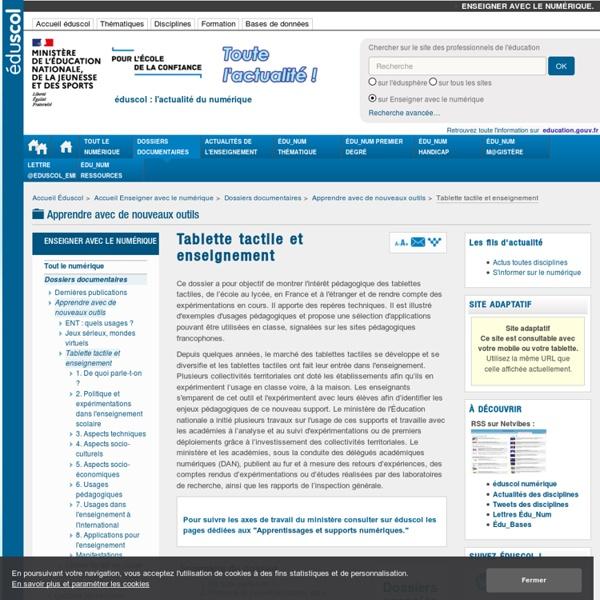 Tablette tactile et enseignement (école - collège - lycée) - Tablette numérique et enseignement (école - collège - lycée)
