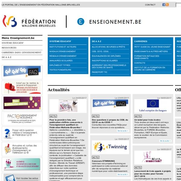 Le portail de l'Enseignement en Fédération Wallonie-Bruxelles