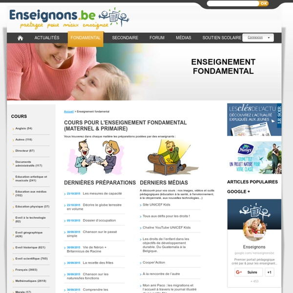 Cours de profs, ressources pédagogiques : tout pour l'enseignant du maternel et du primaire (enseignement fondamental)