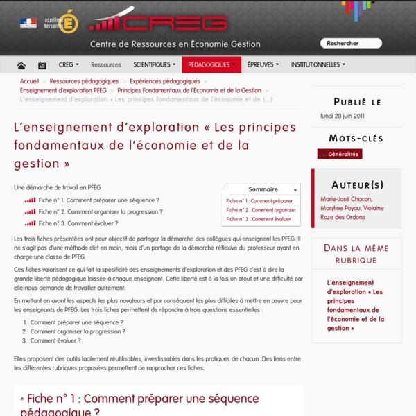 L'enseignement d'exploration « Les principes fondamentaux de l'économie et de la gestion »
