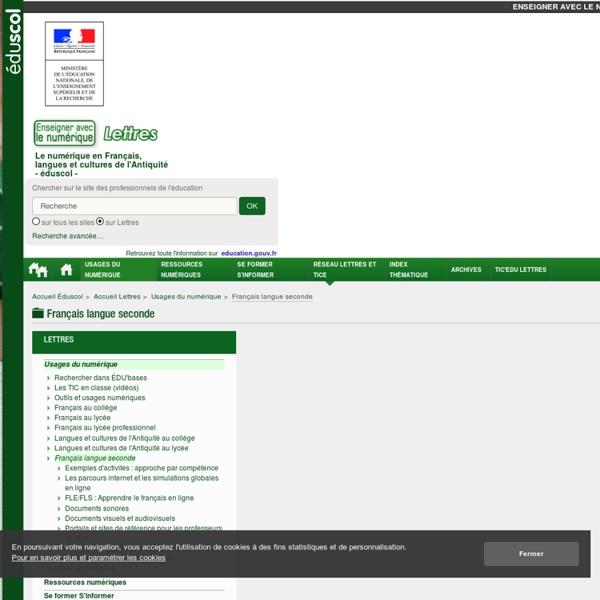 Les TICE pour l'enseignement du français comme langue seconde — Lettres