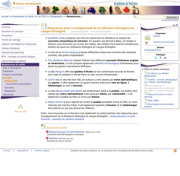 Ressources pour l'enseignement de la Littérature Etrangère en Langue Etrangère- Anglais