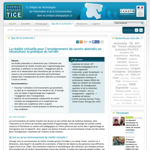L'Agence nationale des Usages des TICE - La réalité virtuelle pour l'enseignement de savoirs abstraits ou nécessitant la pratique du terrain