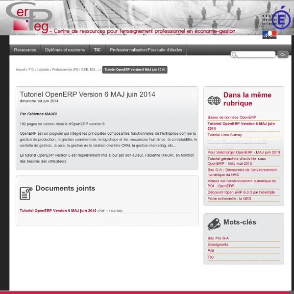 Tutoriel OpenERP Version 6 MAJ novembre 2013