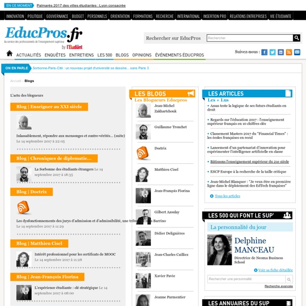 Plateforme de blogs - Les blogs EducPros au service de l'enseignement supérieur - Educpros.fr