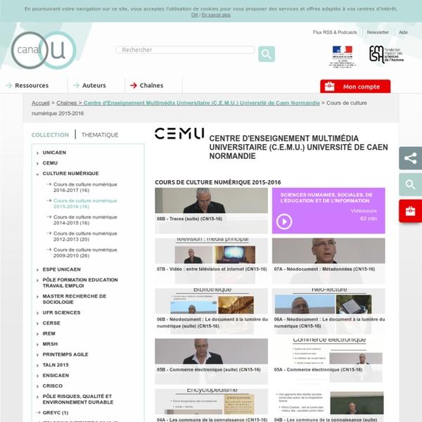 Centre d'Enseignement Multimédia Universitaire (C.E.M.U.) Université de Caen Basse-Normandie - Contributeurs - Canal-U
