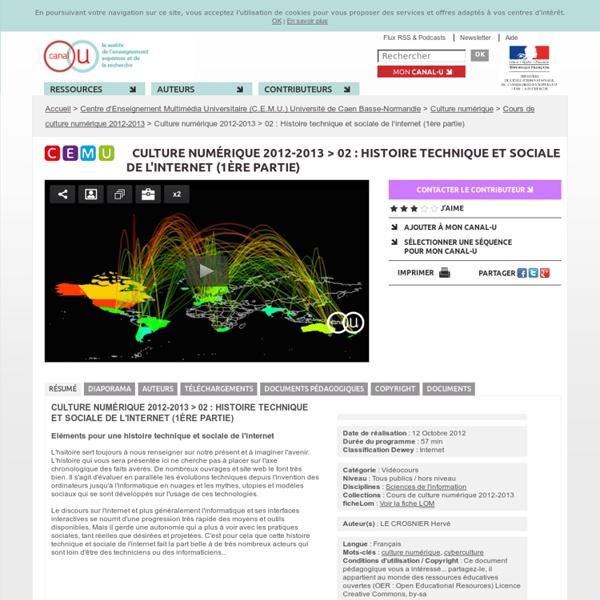 Culture numérique 2012-2013 > 02 : Histoire technique et sociale de l'internet (1ère partie) - Centre d'Enseignement Multimédia Universitaire (C.E.M.U.) Université de Caen Basse-Normandie