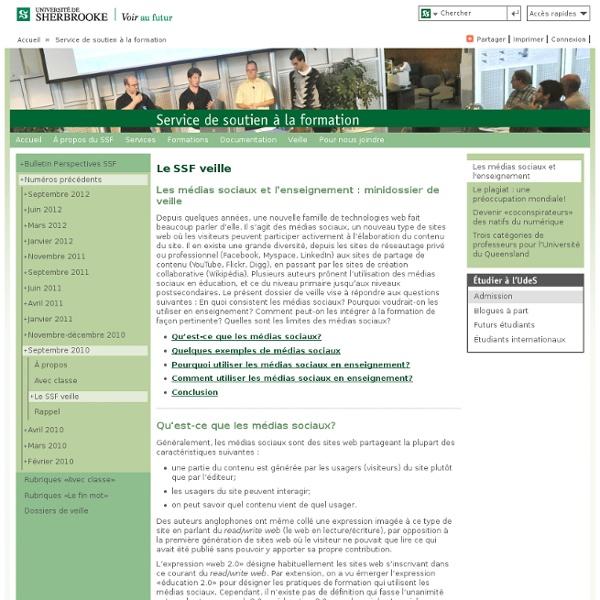Les médias sociaux et l'enseignement: Service de soutien à la formation