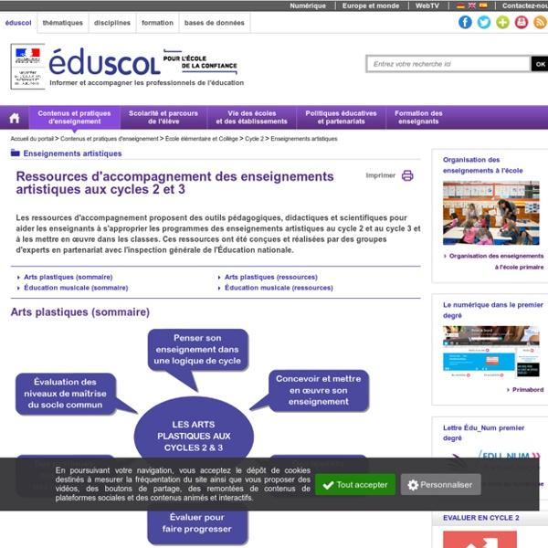 Enseignements artistiques - Ressources d'accompagnement enseignements artistiques aux cycles 2 et 3