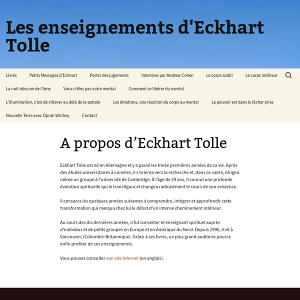 Les enseignements d'Eckhart Tolle