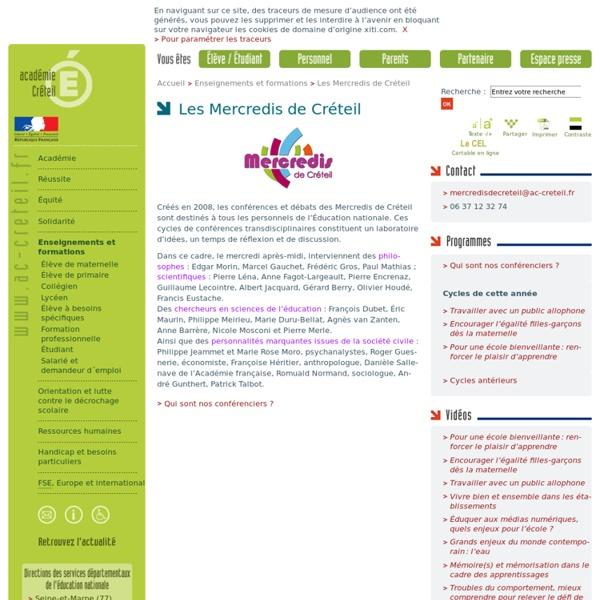 Les Mercredis de Créteil - rubrique 'Enseignements et formations'