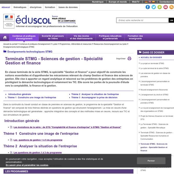 Enseignements technologiques STMG - Terminale STMG - Sciences de gestion - Spécialité Gestion et finance